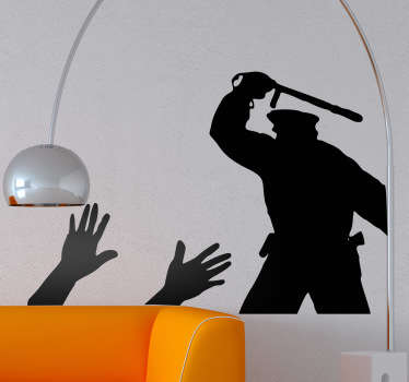 Wall Stickers - Silhouette outline illustration of a police man with a batton in front of two hands up. Available in various sizes and in 50 colours.