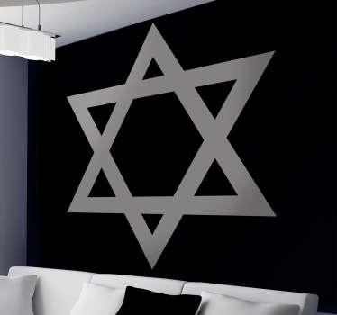 Naklejka na ścianę przedstawiająca gwiazdę Dawida charakterystyczna dla religii żydowskiej. Codziennie nowe projekty! Dostępne w wielu kolorach.