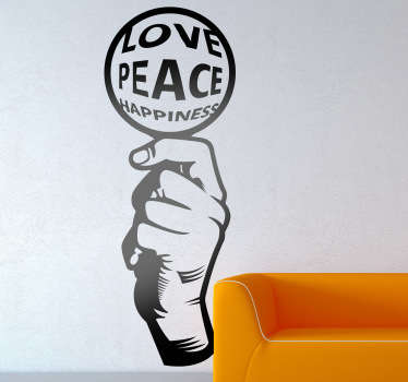 Vinilo decorativo love peace happiness