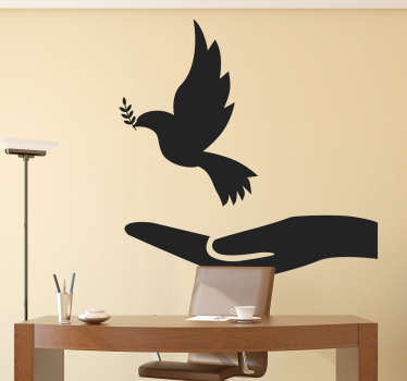 Silhouette outline of a dove, a symbol of peace. A Christian wall art sticker ideal for decorating walls, windows, appliances, devices and more.