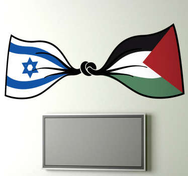 Original flag wall sticker design that depicts a peaceful bond between Israel and Palestine. It is available in any required size.