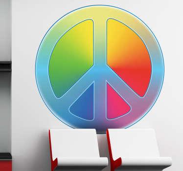 Farbiges Peace Zeichen Aufkleber