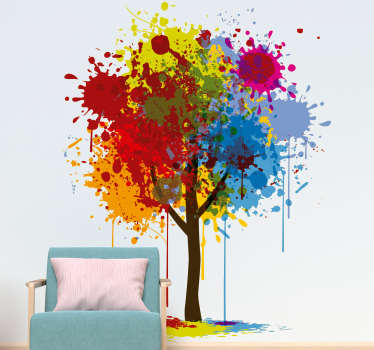 Original tree wall sticker design of a tree trunk with multicoloured paint splats making up the leaves, from our wall art collection, available in a wide range of sizes.