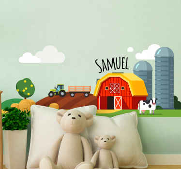 Create a wonderful atmosphere on the space of your little one in our lovely illustrated farm on hill with green farm tractor toy decal.