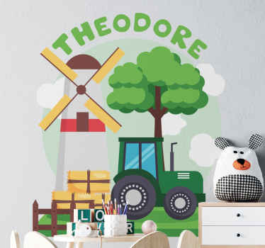 Beautiful children bedroom toy decal to personalize their space. The design illustrates a green tractor with hill, clouds with custom name.