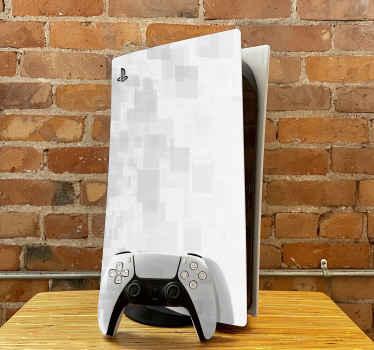 Vinilo ps5 de cuadrados grises y blancos de nuestros diseños de PlayStation de fondo con textura simple. Producido con vinilo de calidad.