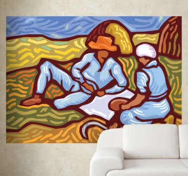 A wall sticker with an illustration of two people in a field with a Van Gogh style design.