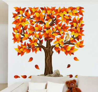 Wall Stickers - Square abstract illustration of a tree. Warm vibrant autumn colours for any room. Available in various colours.