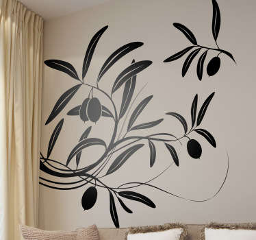 Olive Tree Wall Sticker - Unique illustration of an olive branch from an olive tree. Available in up to 50 colours and various sizes.