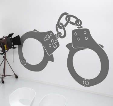 A silhouette sticker of some handcuffs that are sure to make your wall more eye-catching.