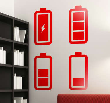 Battery life icons from our collection of technology wall stickers. Available in various sizes and in 50 different colours. This battery sticker set can be arranged in any way you want on any flat surface, perfect for showing people where they can charge their phone.