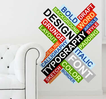Sticker decorativo concetti tipografia