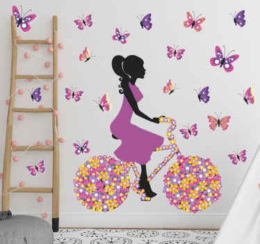 Cycling butterfly  vinyl decal - Beautiful design to customize any space you want to present with an appearance of an elegant lady riding  pretty bike.
