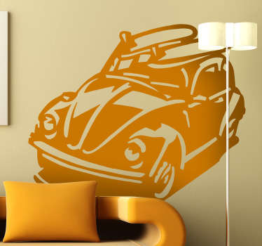Beetle wall stickers - this retro beetle silhouette is a unique design with two surf boards on its roof. The beetle decal is available in up to 50 colours and various sizes.