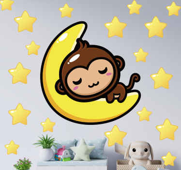 This space themed wall sticker Monkey on moon has a unique and cool design that is sure to give your home a lovely look! Available in 50 colors.