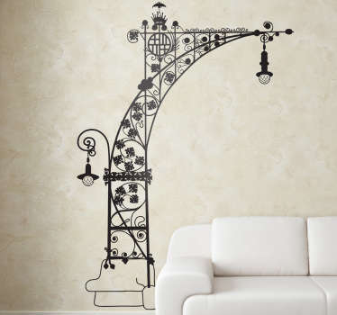Barcelona wall sticker with a spectacular design of the modernist streetlights from Paseo de Gracia.