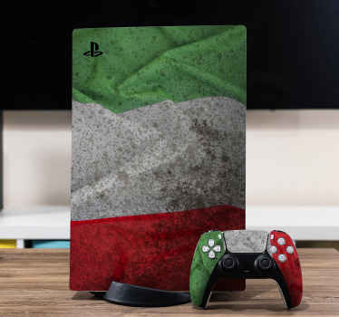 An Italian flag PS5  vinyl sticker to decorate your game console and controller with an outstanding appearance representing Italy.