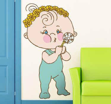 Little Boy with Dandelion Kids Sticker