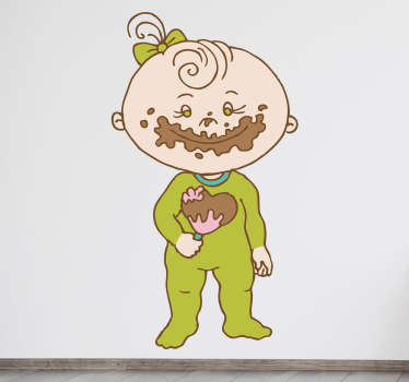 Sticker decorativo con una simpatica bambina intenta a mangiare un dolce al cioccolato. Un'idea originale per decorare la camera del tuo neonato.