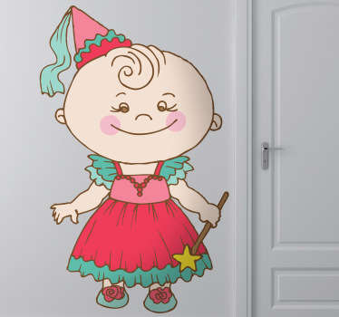 Fun children's sticker of a little girl dressed as fairy godmother with a pretty dress and a magic wand.