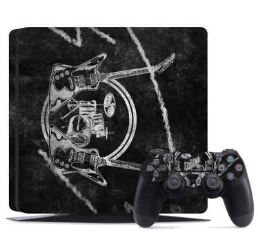 Graffiti rock band  PS4 sticker for music lovers and instrumentalist. The design is a black background featured with guitar and rock bands instruments.