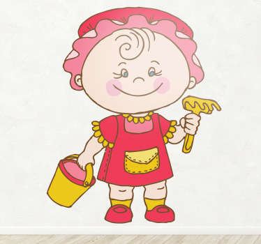 Stickers pour enfant illustrant une fillette prête à construire son château de sable.Super idée déco pour la chambre d'enfant et tout autre espace de jeux.