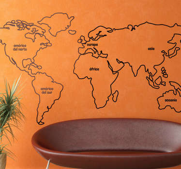 Vinilo mapa del mundo línea