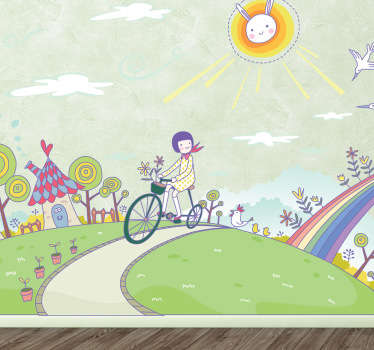 Decorate your child's room with this fascinating vinyl sticker of a little girl that rides her bike to travel through a fantasy land.