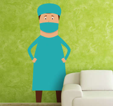 Wall Stickers - Illustration of surgeon prepared for surgery. Available in various sizes. Long lasting decals.