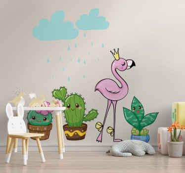 Söt kaktus med flamingo växt klistermärke för barn sovrum utrymme. Designen illustreras i komisk tecknad stil och presenteras också med moln.