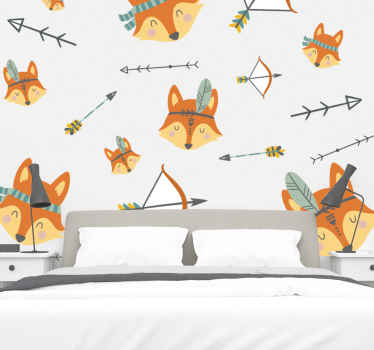 Set of foxes and arrows illustration decal - Add a lovely look and attention on the space of your kid or other spaces with this design illustration.