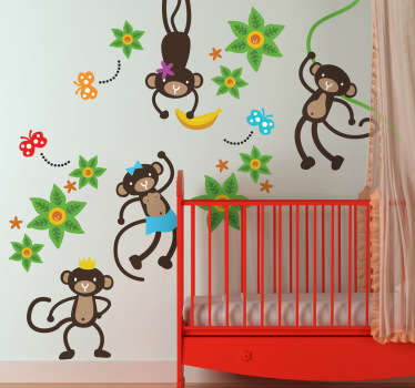 A kids sticker set from our collection of monkey wall stickers ideal for decorating the bedroom of the little ones at home. Does your child love monkeys? Well these four crazy and friendly monkeys are superb for adding a touch of colour and fun to your child's room.