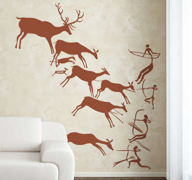 Prehistoric cave art sticker for those who love ancient history. The history wall decal features cavemen hunting deer. Available in various sizes and colours