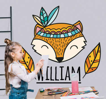 Fox with feathers personalized animal decal -A decoration for children bedroom and other spaces in a house , it is self adhesive and easy to apply.