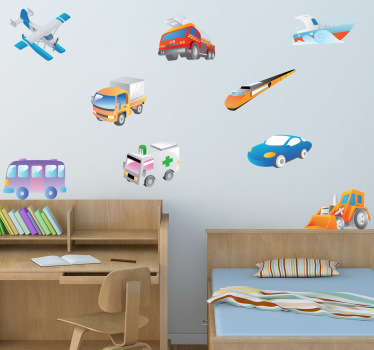 Kids bedroom decals - Collection of vehicles to stick on your kids wall. Great educational wall sticker to teach your children what the different modes of transport are.