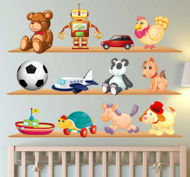 Decorate your child's room with these cute wall stickers set that shows different toys on the shelves.
