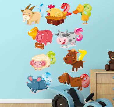 Lasten sisustustarra eläimet ja numerot