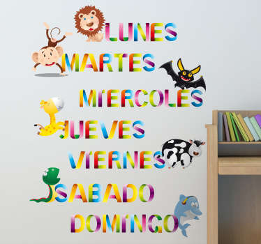 Kids Wall Stickers - Colourful animal designs. The days of the week in spanish. Fun and vibrant feature to assist in learning.