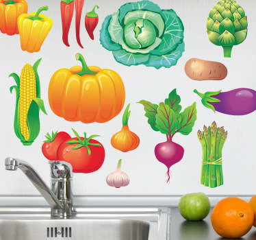 Wall Stickers - Decals - Collection of vibrant colourful vegetables. Ideal for homes or businesses. Extremely long-lasting material.