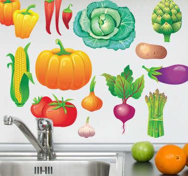 Naklejka różne warzywa