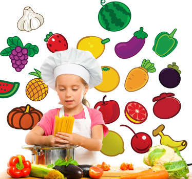 Collection of stickers of various fresh and healthy foods including colourful fruits and vegetables.