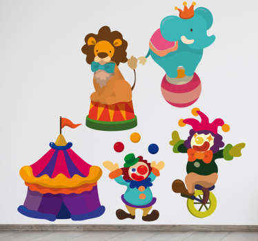 Sticker kinderkamer personages circus