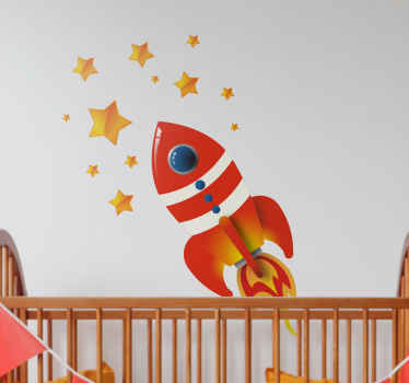 Place the rocket and the stars anywhere in your child's room with our collection of space wall stickers!