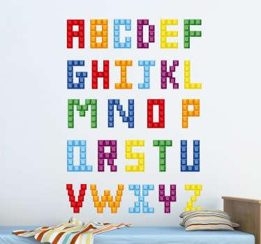 Vinil decorativo do alfabeto em forma de legos. Autocolante para dar um ar divertido à educação do seu filho. Ajude-o a gostar de aprender.