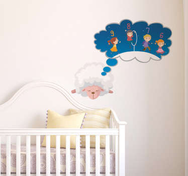 A sweet decal of a sleeping sheep designed for decorating young children's bedrooms.