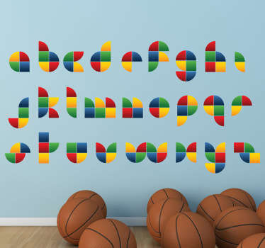 Original children's sticker of the letters of the alphabet in a Lego style, shape and colour.
