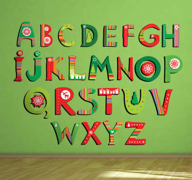 Decorate your child's room with this great Christmas alphabet decal as a wall decoration!