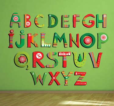 Adesivo cameretta alfabeto natalizio