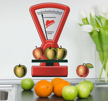 Kitchen Stickers-Illustration of apples being weighed on a scale. Ideal for adding a touch of colour to your kitchen. Decorate your kitchen walls