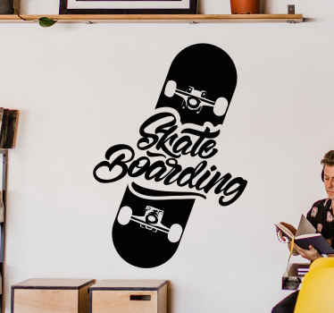 Skate Logo Vintage wall sticker for lovers of skating! very simple design illustrating skateboard with inscribed text.  Easy to apply.
